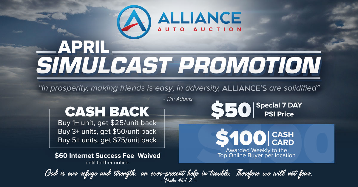 Join the Alliance Weekly Sales every Friday at 9:45am